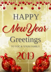 NEW YEAR GREETING CARD A3 template