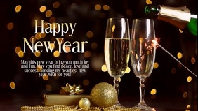 New Year Greeting Card Wishes Champagne gold