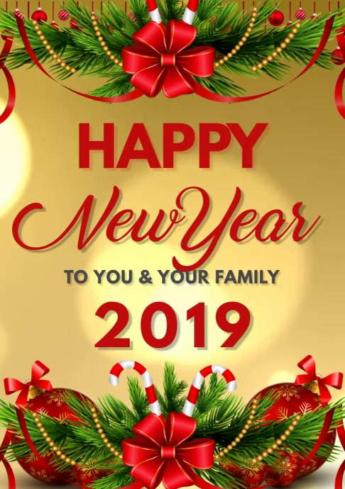new year greeting cards A3 template