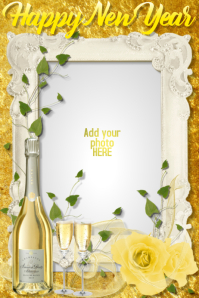 New Year Holiday Christmas Wedding Romantic Champagne Card
