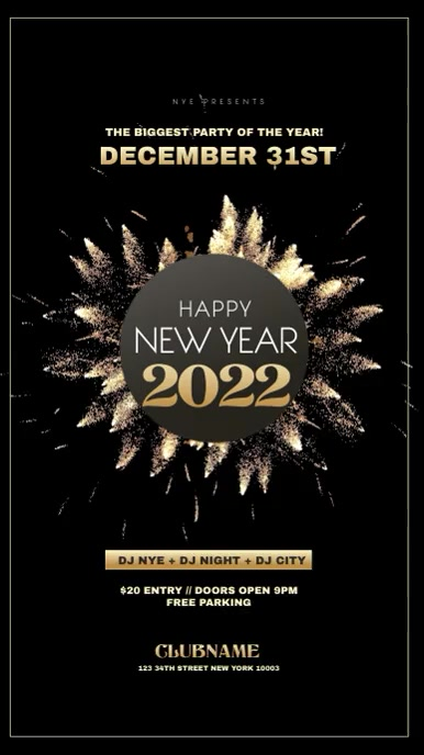New Year Invitation flyer Instagram Story template