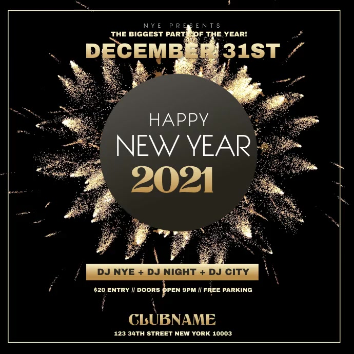 New Year Invitation flyer Instagram na Post template