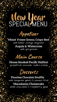 new year menu, christmas menu, menu Digital Display (9:16) template