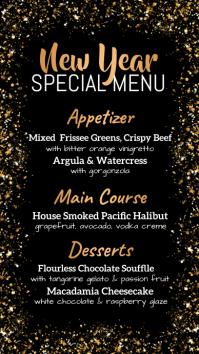 new year menu, christmas menu, menu Digital Display (9:16) template