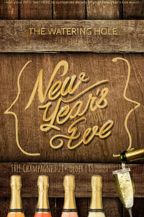 new year nye party event countdown rustic country holiday customize template