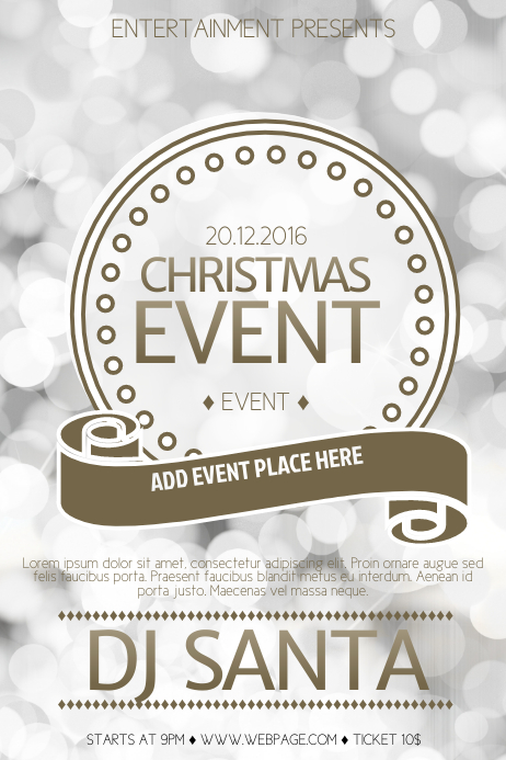 New Year or Christmas Event Flyer Template Poster