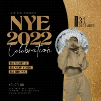 New Year Party, NYE Celebration Flyer Wpis na Instagrama template