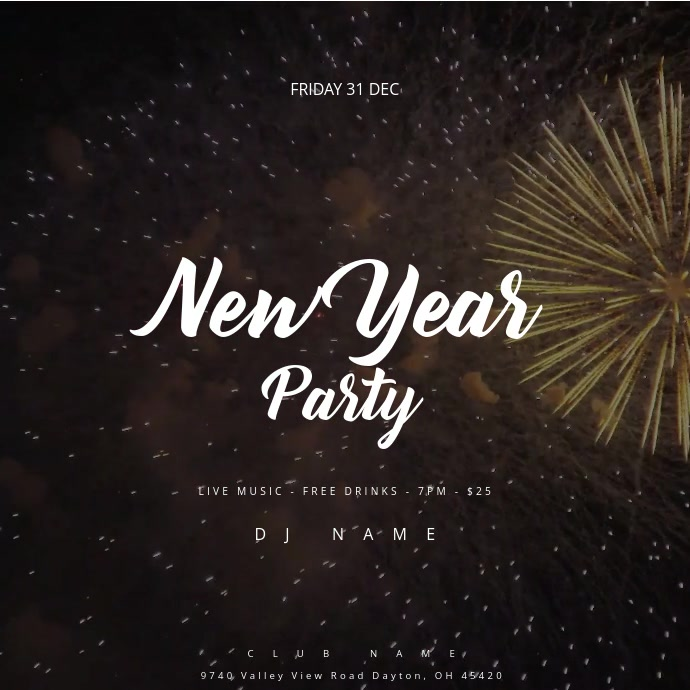 New Year Party Event Poster Template