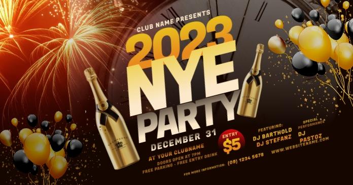 New Year Party Facebook Shared Image delt Facebook-billede template