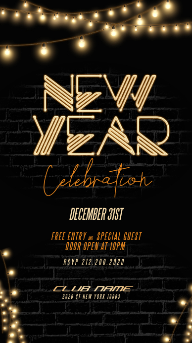 New Year Party Flyer, Happy New Year Historia de Instagram template