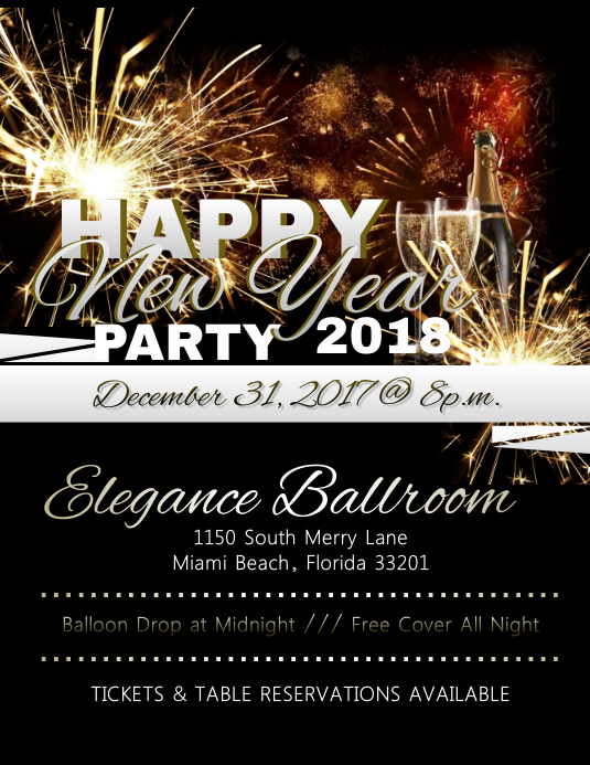 new year party flyer customize template