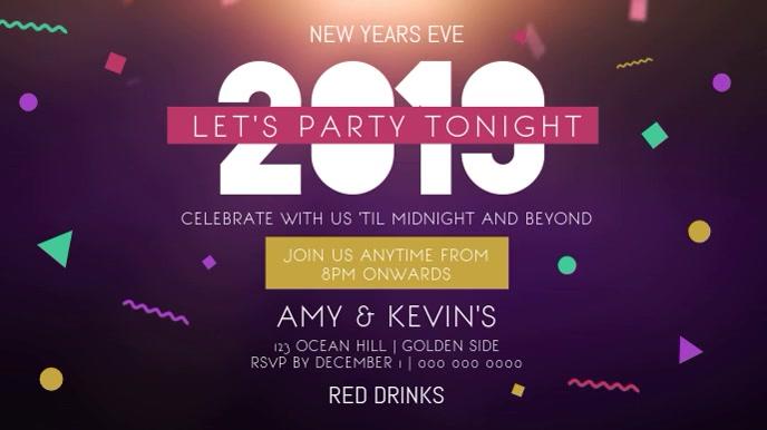 New Year Party Horizontal Digital Display Video