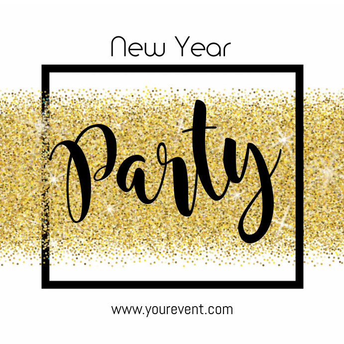 New Year Party Invitation Square ad event bar