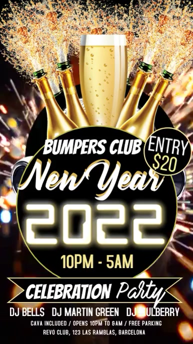 New Year Party Night Video Template Tampilan Digital (9:16)