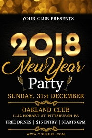 New Year Party Flyer Template Poster