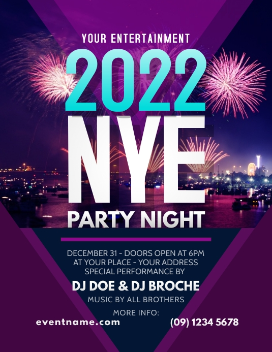 New Year Party Flyer Template Pamflet (Letter AS)