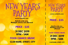 New year party tickets Label template