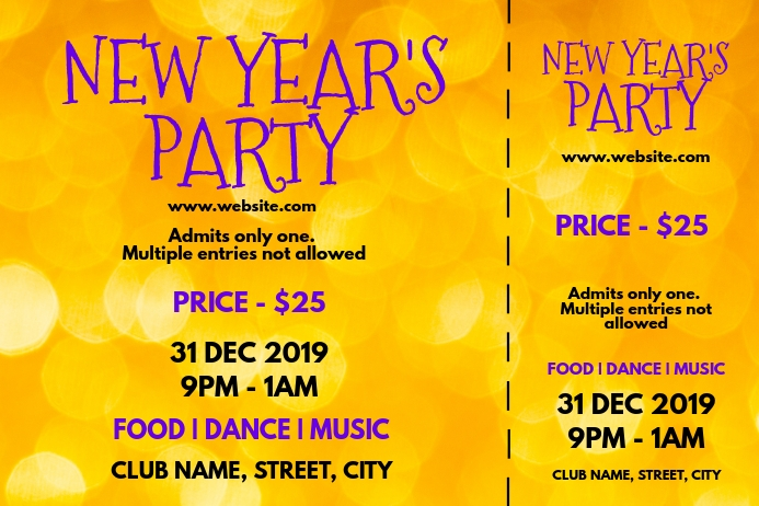 New year party tickets Etykieta template