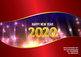 New Year Poster Postkort template