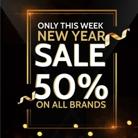 NEW YEAR RETAIL SALE EVENT Flyer Template Сообщение Instagram