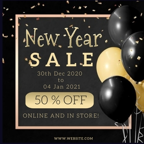 New Year Sale Event Flyer template Vierkant (1:1)