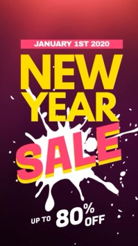 New Year Sale Promotional Video 数字显示屏 (9:16) template