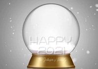 New Year Snowglobe Family Video Postal template