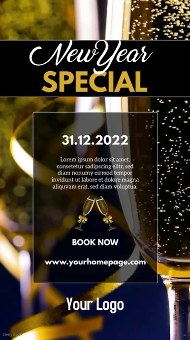 New Year Special Celebration story champagne Historia de Instagram template