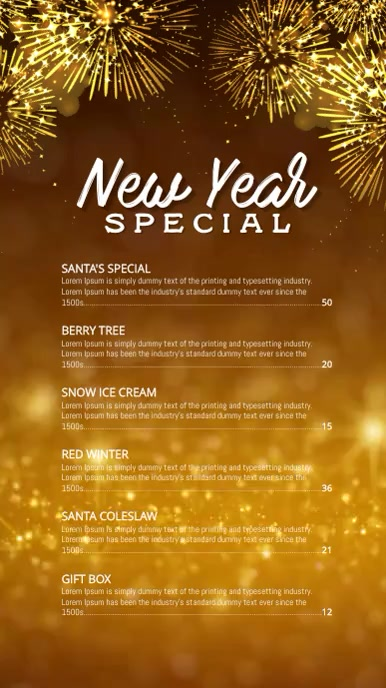 New year specials menu Digital Display (9:16) template