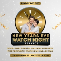 NEW YEAR WATCH NIGHT GOLD CHURCH FLYER Album Cover template