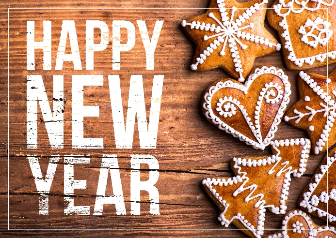 New year wishes Kartu Pos template