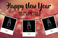 New Year Wishes Cartel de 4 × 6 pulg. template