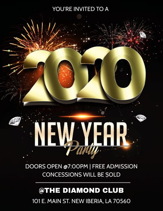 NEW YEARS 2020 PARTY CLUB FLYER TEMPLATE