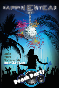 New Years Beach Party Poster