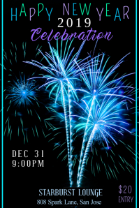 New Years Celebration Poster Template