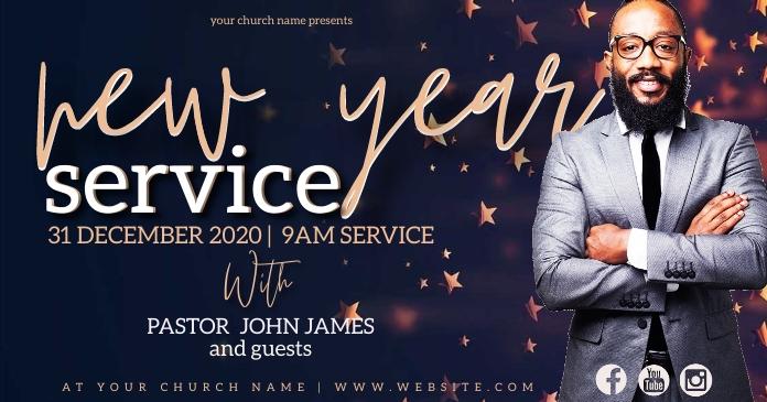 new years Church Event Flyer Template Obraz udostępniany na Facebooku