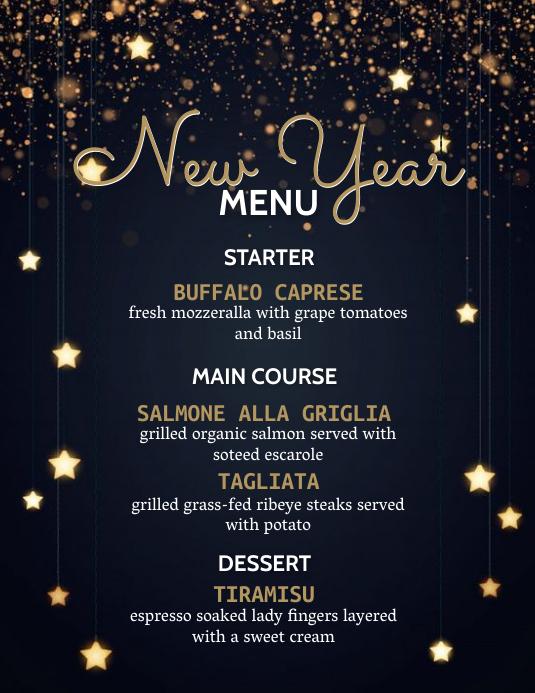 new years dinner menu Flyer Template 传单(美国信函)