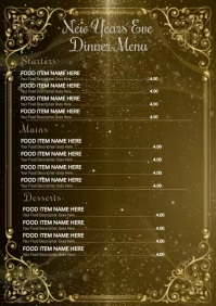 New Years Dinner Menu Template A4