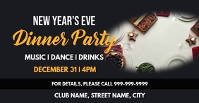 New years dinner party Facebook Event Cover template