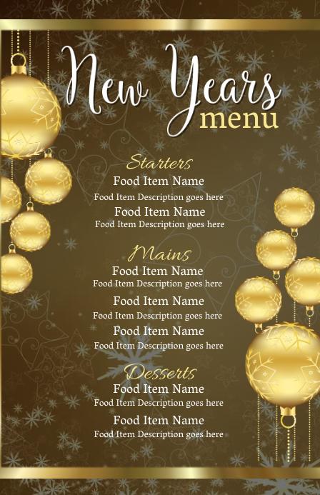 New Years Eve Dinner Menu Template | PosterMyWall