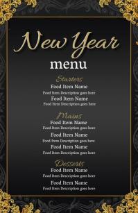 New Years Eve Dinner Menu Template ความกว้างแบบครึ่งหน้า