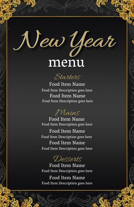 New Years Eve Dinner Menu Template Half Page Wide