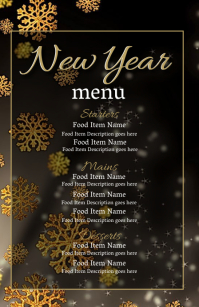 New Years Eve Dinner Menu Template Halbe Seite breit