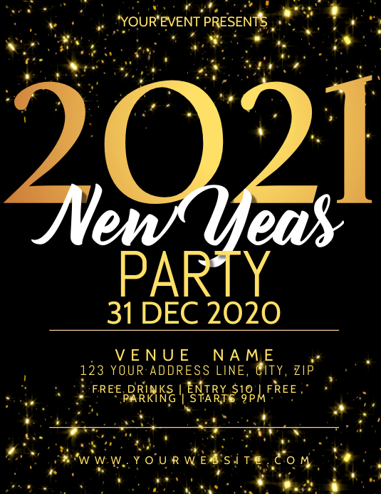 NEW YEARS EVENT FLYER TEMPLATE Volante (Carta US)