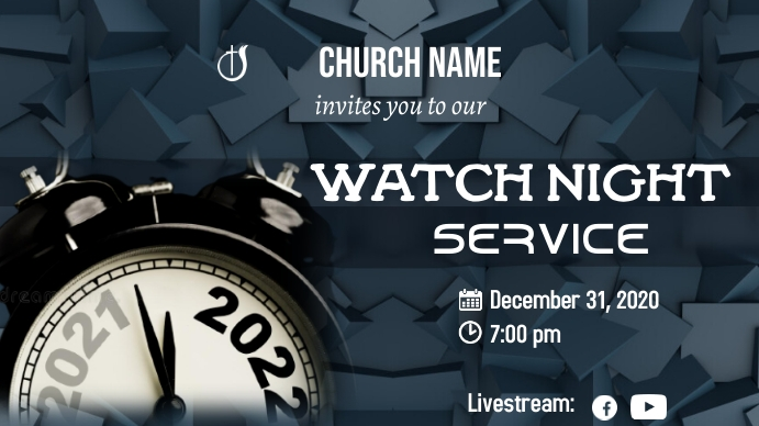 New Years Eve Service Thumbnail sa YouTube template