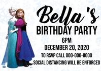 frozen birthday party invitation Postcard template