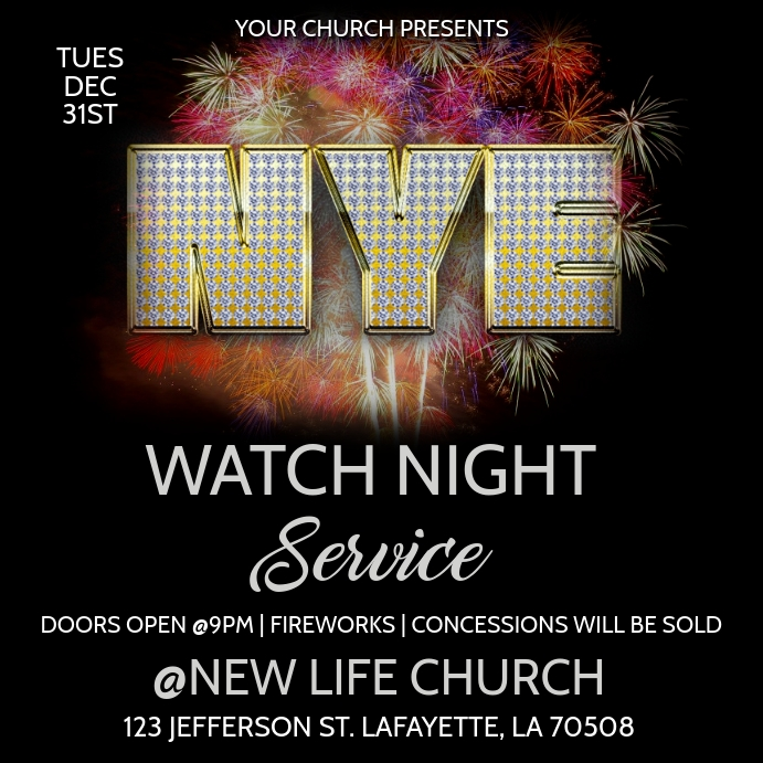 NEW YEARS EVE WATCH NIGHT CHURCH SERVICE Instagram na Post template