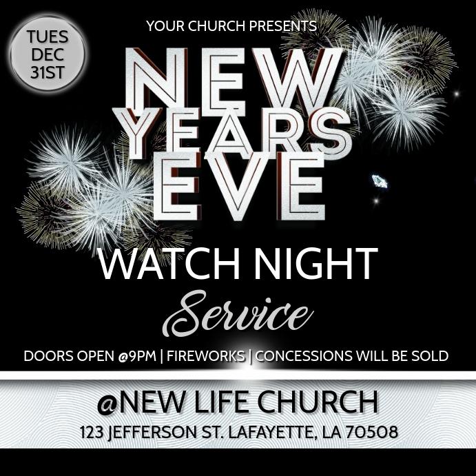 NEW YEARS EVE WATCH NIGHT CHURCH SERVICE Template ...