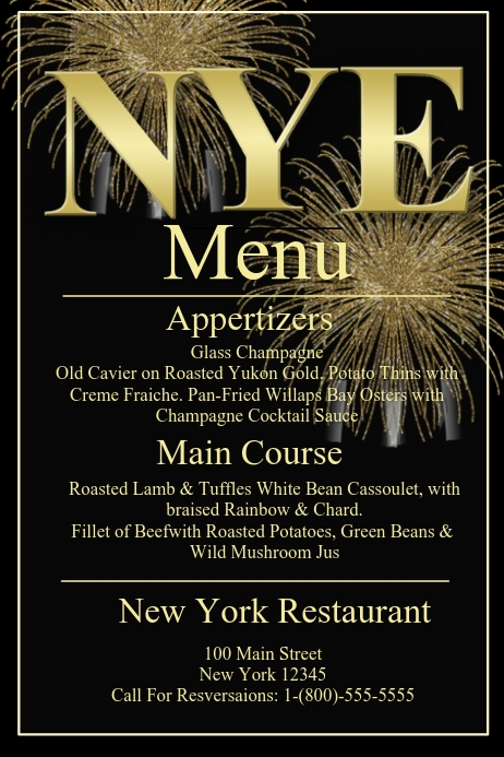 new years menu template postermywall