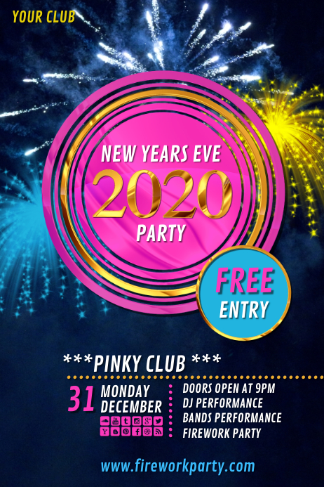new years party 2020 Poster template